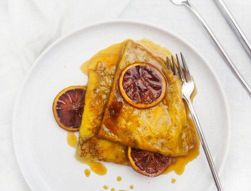 crepes suzette cu portocale rosii