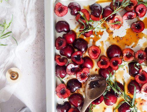 Cirese cu otet balsamic si tarhon